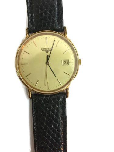 Longines-La-Grande-Classique-Gold-Dial-Black-Leather-Ladies-Watch-Vintage