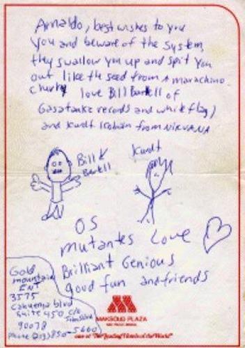 Carta de Kurt Cobain para Arnaldo.