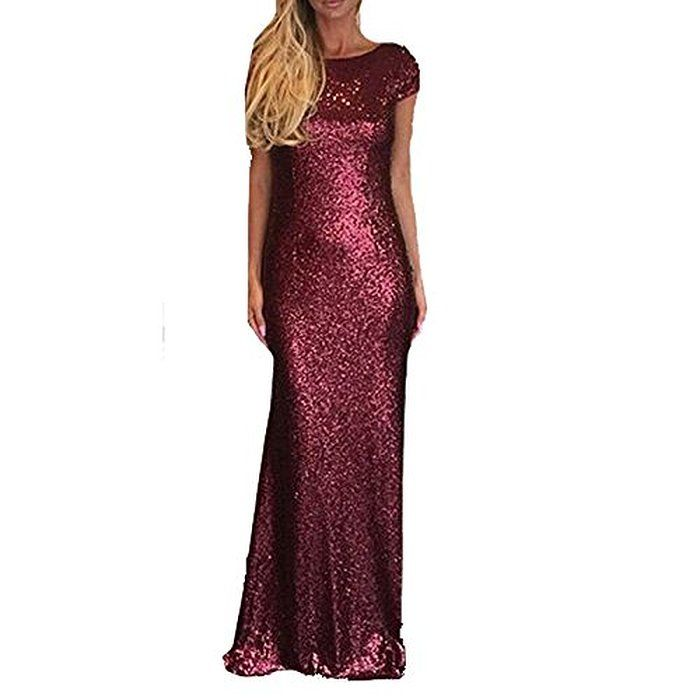 Sparkly Burgundy Sequined Bridesmaid Dresses Modest Mermaid Long Prom Evening Gowns
