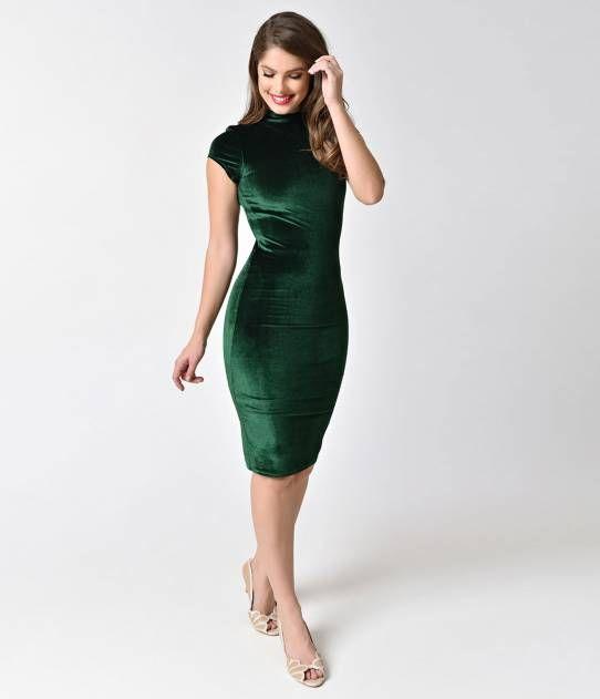 Unique Vintage 1960s Emerald Green Velvet Stretch Knit Cap Sleeve Holly Wiggle Dress