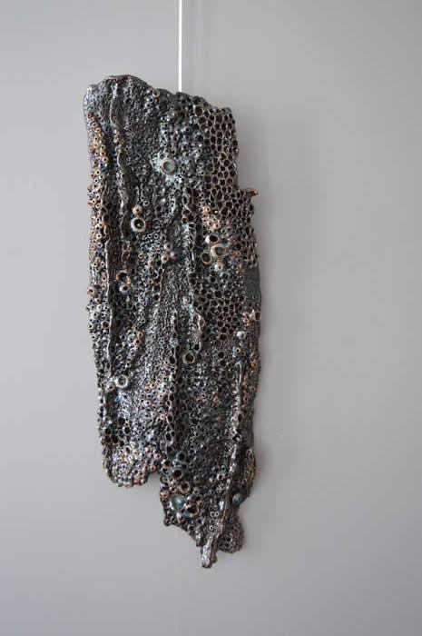black ceramic coral art