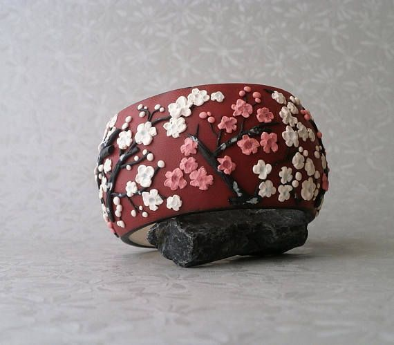 Japanese blossom white pink flower bangle Japanese plum blossoms wide red polymer clay bracelet by Lijoux