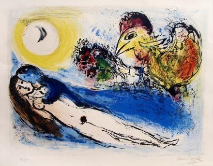 Marc Chagall, Bonjour sur Paris, 1952, litografia, cm 51x66