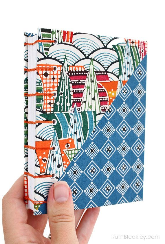 bright and colorful handmade journal by bookbinder Ruth Bleakley made with Japanese Katazome stencil-dyed paper