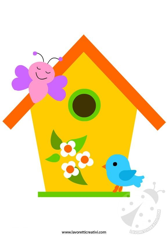 SAGOMA CASETTA UCCELLI Sagome utili per realizzare una casetta per uccelli di carta da attaccare alle porte e ai vetri delle finestre di scuola nel periodo