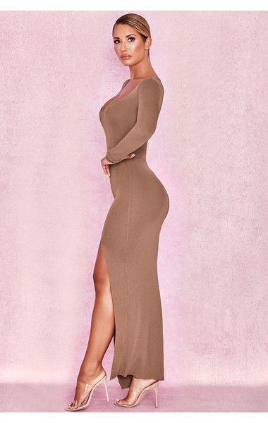 89baf7f4fb Clothing : Knitwear : 'Cateleya' Caramel Knit Thigh Slit Maxi Dress ...