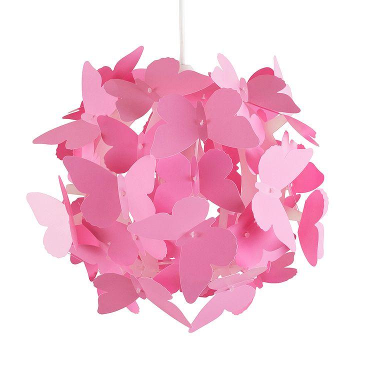 Mooie Lief en Klein hanglamp vlinders roze voor de babykamer of kinderkamer. De lamp is gemaakt van kunststof en dus goed schoon te maken.