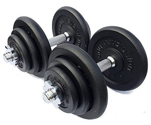 From 86.99 Body Revolution Cast Iron Dumbbell Set  Adjustable Cast Iron Free Weights With Bars (50kg)