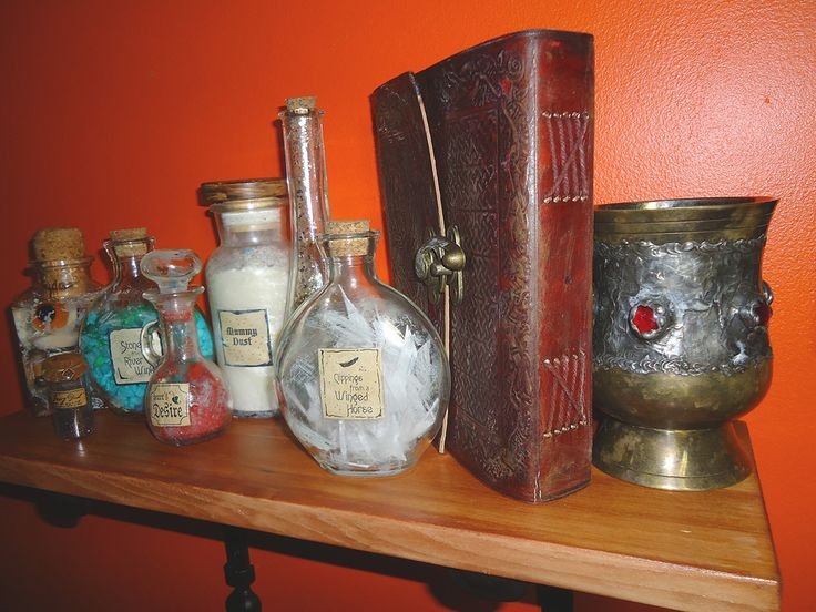 """A shelf of """"magical"""" items, the kind of things you might find in the Wizard Griffinskitch's library in my Kendra Kandlestar books."""