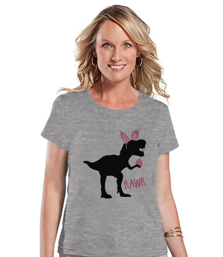 Womens Easter Shirt - Ladies Pink Dinosaur Happy Easter Shirt - Funny Dino Easter Tee - Gift for Her - Funny Bunny Dinosaur - Grey T-shirt