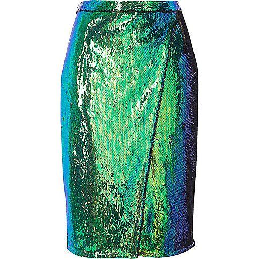Petite green sequin wrap midi skirt
