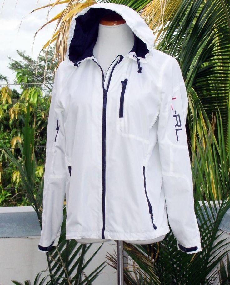 Ralph Lauren Hooded Nautical Sailing Jacket Coat M White #RalphLauren #BasicJacket