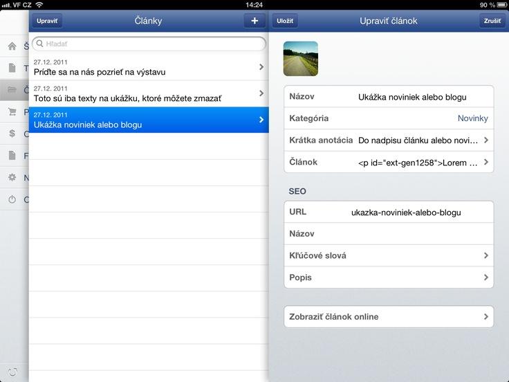 úprava článku cez Flox app - iPad