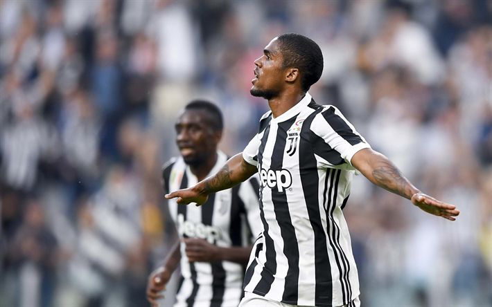 Download wallpapers Douglas Costa, 4k, goal, Juve, soccer, footballers, Juventus, football, Serie A