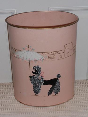 pink vintage 1950u0027s poodle dog ransburg trash can ebay