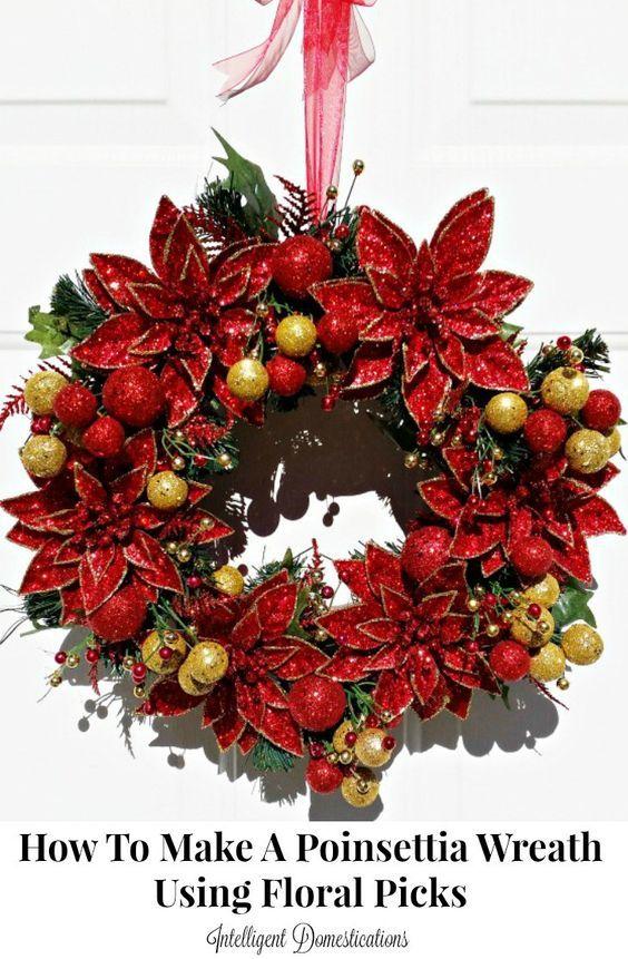 How to make a Poinsettia Christmas Wreath. Floral pick Christmas wreath. DIY Poinsettia Christmas Wreath.
