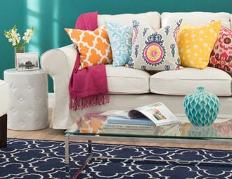 Bold & Brilliant - Color-Splashed Pillows & Rugs on Joss and Main...one of my favorite places to shop home decor and uniquely fabulous finds