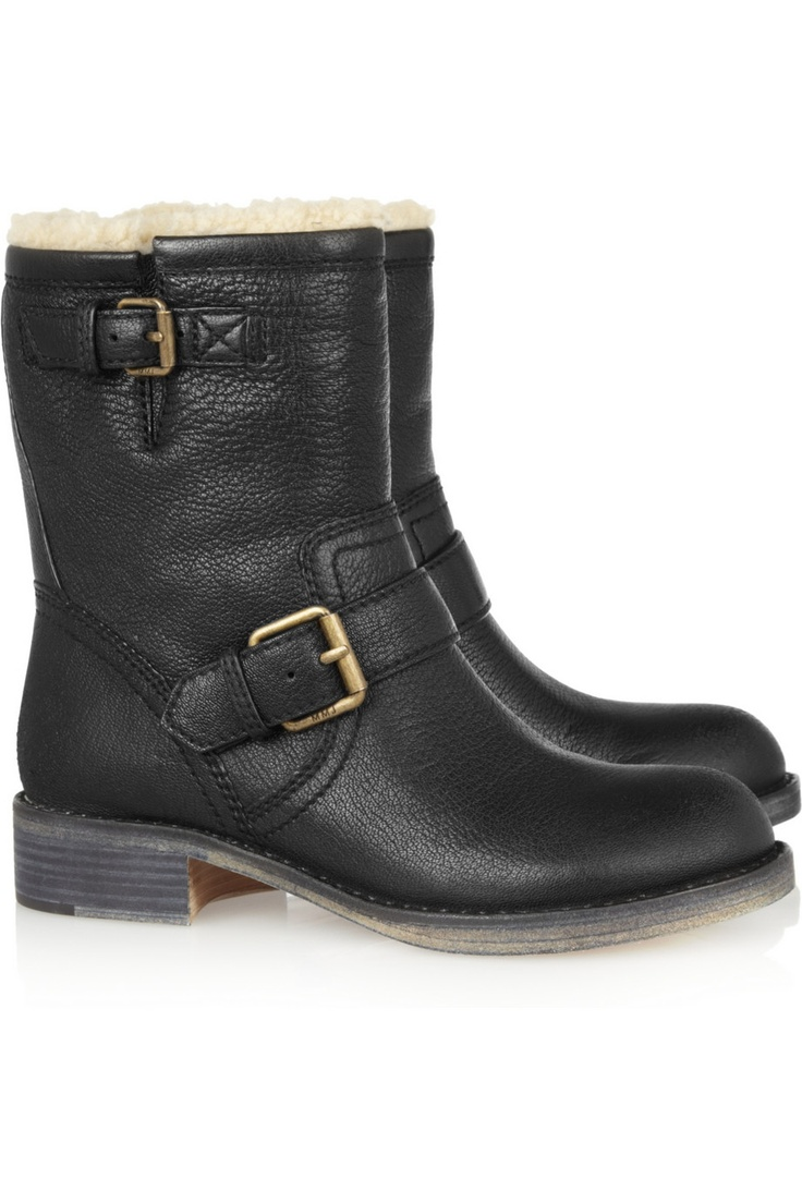 shearling lined leather biker boots