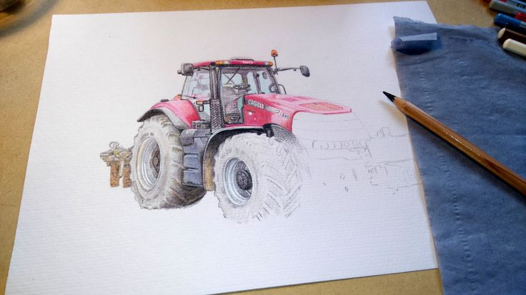 Case Magnum coloured pencil drawing in progress #Case #tractors #tractorart #agriculture