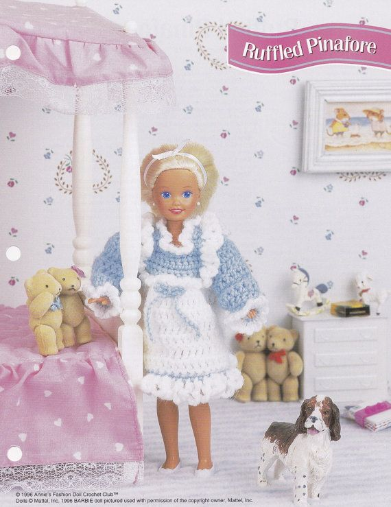 Ruffled Pinafore, Annie's Fashion Doll Clothes Crochet Club Pattern Leaflet…