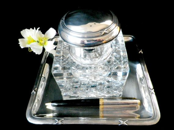 Large desk stand 830 silver mounted silver inkwell by Taingtiques