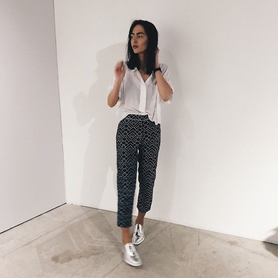 Get this look: http://lb.nu/look/8059160  More looks by Agnija Grigule: http://lb.nu/agnijagrigule  Items in this look:  Miista Silver Brogues, Motel Trousers, Third Form Shirt   #casual #minimal #street