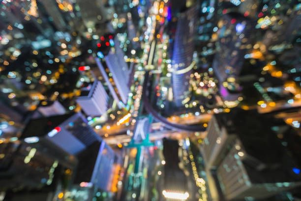 blurred lights aerial view bangkok city central business downtown