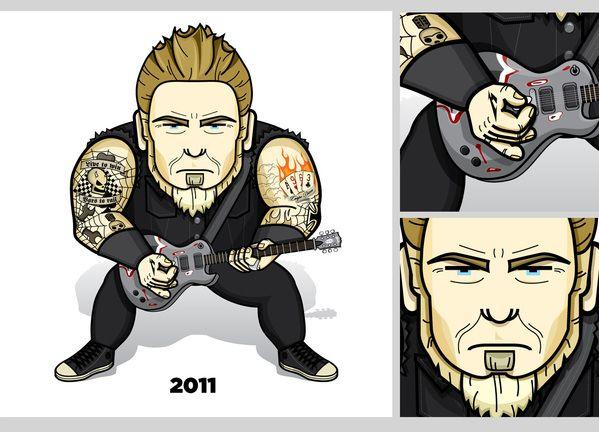 JaviFlames Blog: A Hetfield Story (Metallica). Interesantes ilustraciones que reflejan la evolución de James Hetfield, vocalista y guitarrista rítmico de Metallica a lo largo de los años (1982-2011).