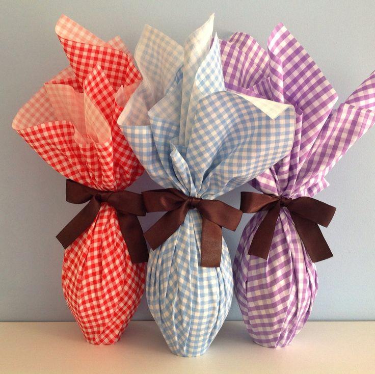 Ovos de Pascoa embalagem de tecido