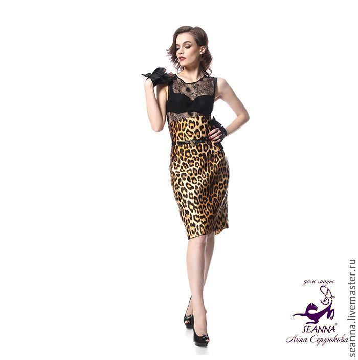 """Купить Роскошная юбка-карандаш """"Шелковый Ягуар"""" из плотного шелка на подклад - леопардовая юбка, юбка"""