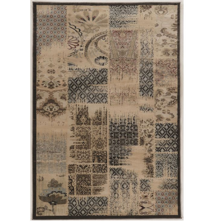 "Linon Power Loomed Jewel Collection Vintage Patch Work Beige Polypropylene Rug (1'10"" X 2'10"") (Size), Size 2' x 3'"