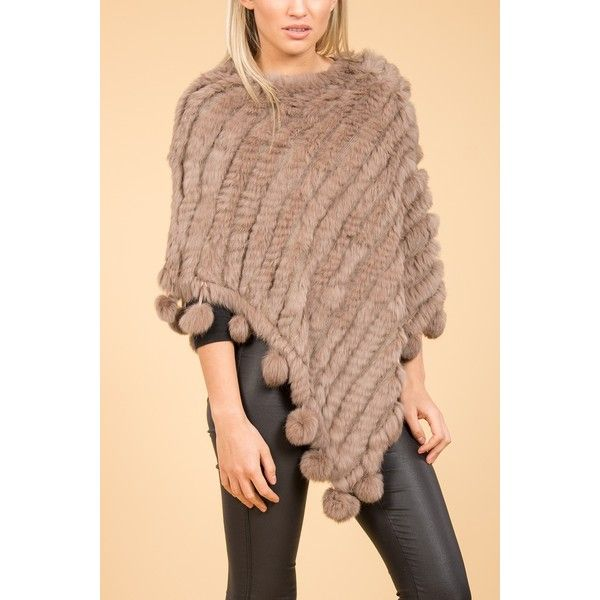 Jayley Mocha Pom Pom Fur Poncho found on Polyvore featuring women's fashion, outerwear and fur poncho