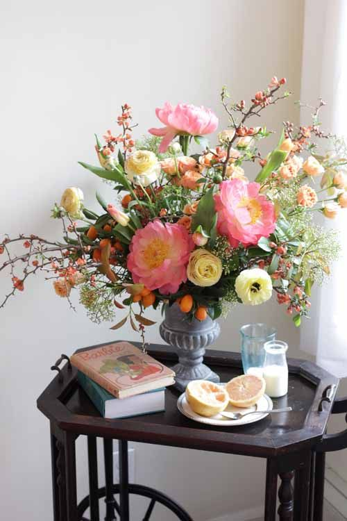 peach peonies arrangement