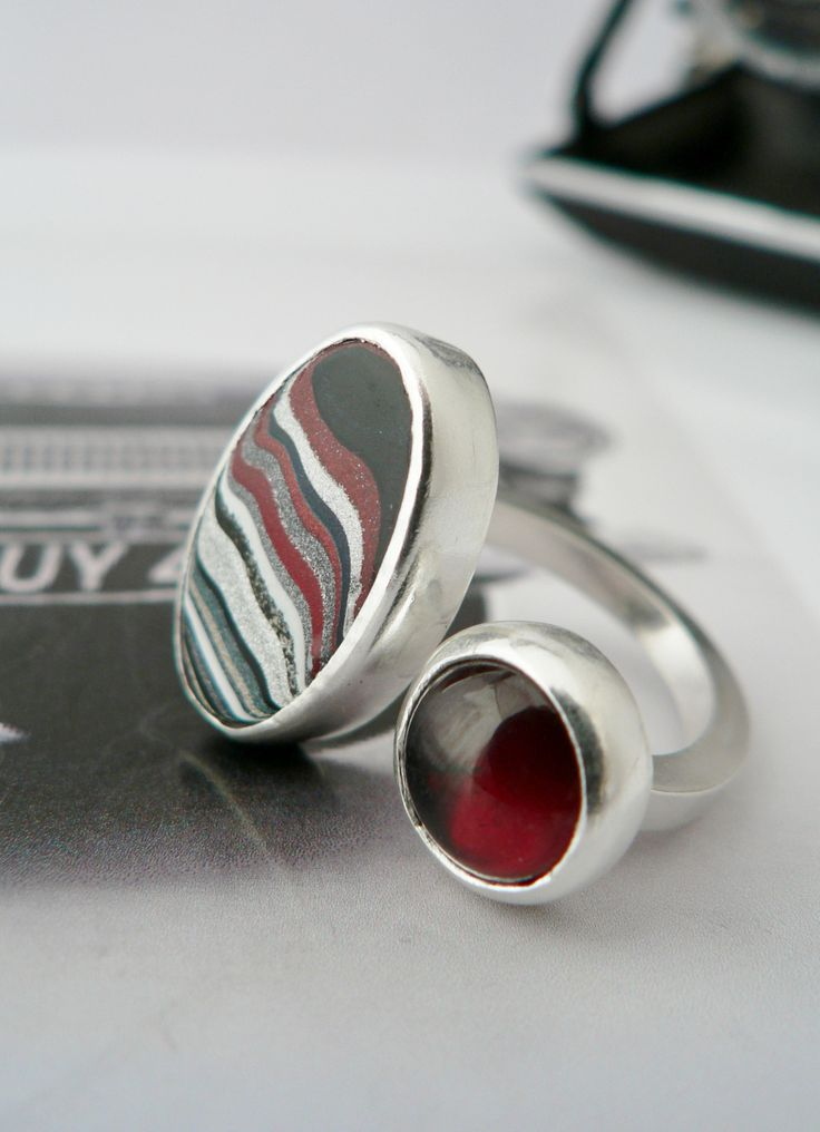 I teamed this Fordite piece with a lovely luscious red garnet. Really pleased with the result.