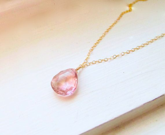 Pink necklace mystic quartz sterling silver gold by WynnDesign