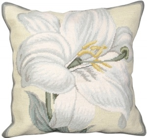Needlepoint White Lily Pillow