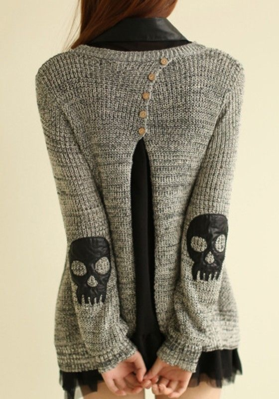 Grey Skull 2-in-1 Applique Twinset Slits Back Buttons Fall Fashion Pullover
