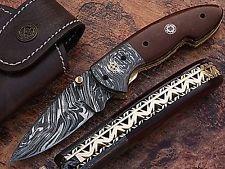 Custom Made Damasco con madera MICARTA Damasco Cuchillo Plegable De bloqueo Collarín fácil