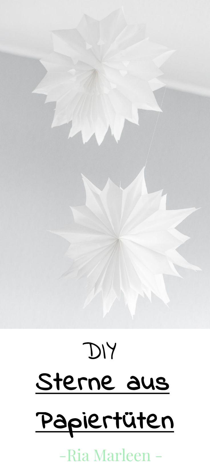 DIY Deko Sterne aus Papiertüten basteln - einfache DIY Anleitung für Weihnachten... DIY Papier, einfach, kreativ, Sterne, Selbermachen, Tutorial