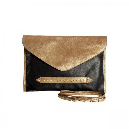 Mini Popins Bag Two-color clutch in contrasting leather. Half-cone studs in galvanic gold and loop to slip on the hand. Snap hook strap and concealed magnet fastening. Fully lined in handcrafted canvas. Internal and cell phone pocket, both in leather. Limited edition