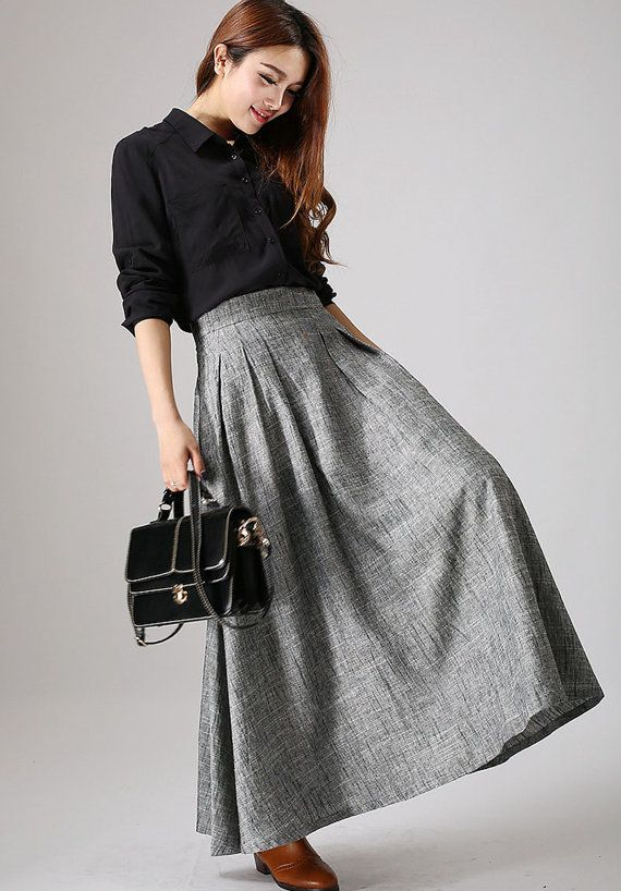 Classic Gray Skirt - Marl Grey maxi skirt - long linen skirt with fitted waist -  woman simple stylish skirt - custom made & Plus size (886)