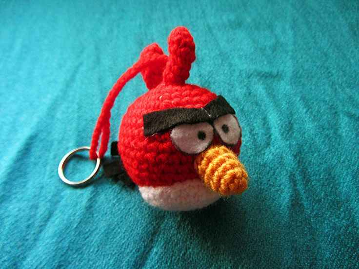 Red Angry bird key ring