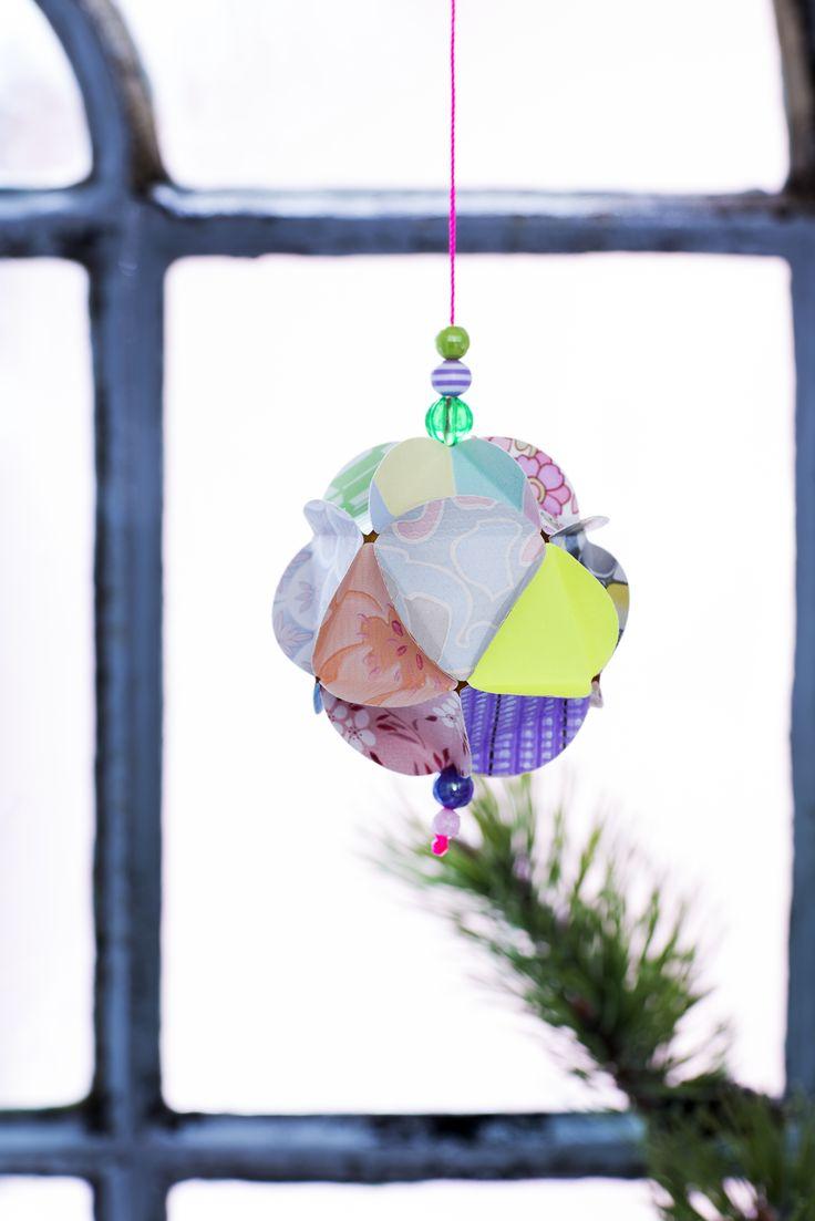DIY Wallpaper Christmas Ornament RetroVilla