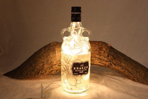 Liquor Bottle Light Upcycled Kraken Liquor by CountryRichDesigns