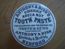 CHERRY ARECA NUT TOOTHPASTE POT LID - ANTHONY & BISS CHEMISTS & DENTISTS BEDFORD