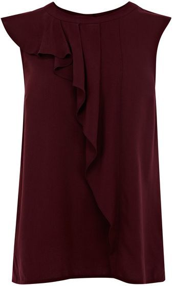 Oasis High Neck Frill Viscose Top - Lyst