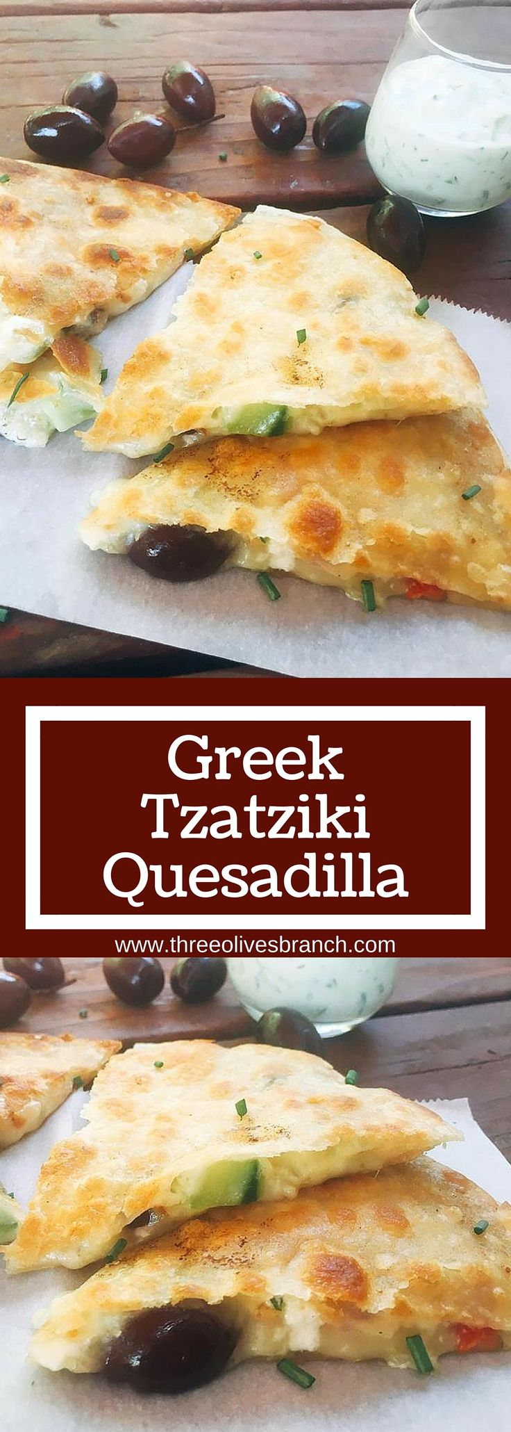 Ready in just 10 minutes! Greek Tzatziki Quesadillas are a great way to sneak some veggies into a fun snack or meal! All the flavors of Greek salad in quesadilla form with some tzatziki sauce inside for flavor, plus sauce for dipping   www.threeolivesbranch.com