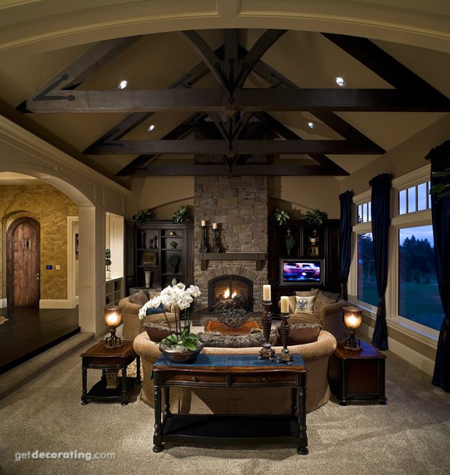 Ceilings,Living Rooms: Stones Fireplaces, Fireplaces Design, Living Rooms, Ceilings Liv Room, Future House, Ceilings Design, Decor Ideas For Living Room, Dreams House, High Ceilings