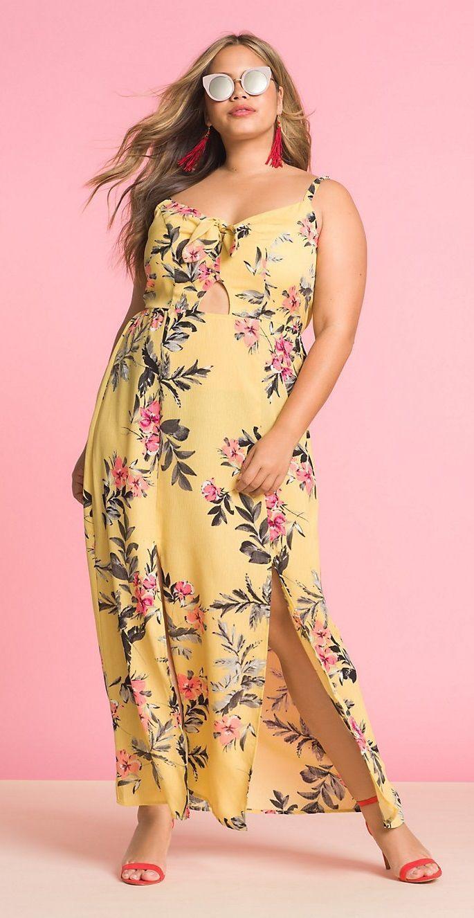 c580765b4c9a Plus Size Floral Tie Front Maxi Dress