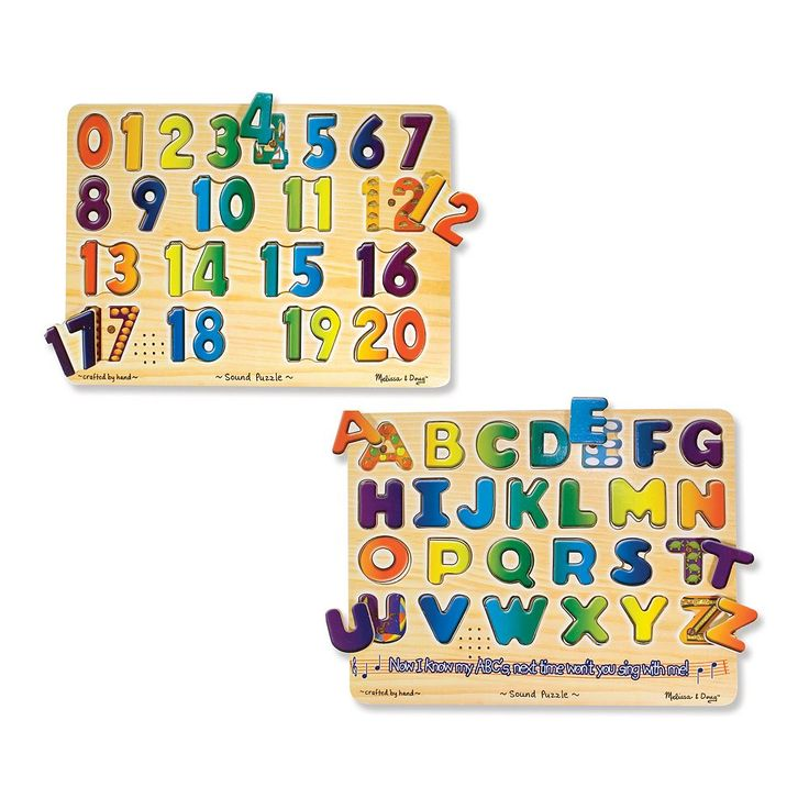 Melissa and Doug Numbers and Alphabet Sound Puzzle Set, Multicolor